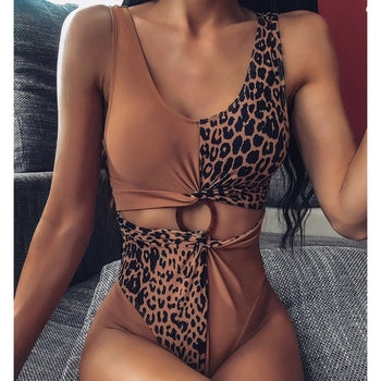 Patchwork Leopard Printed One-piece Swimsuit - MorphU LLC