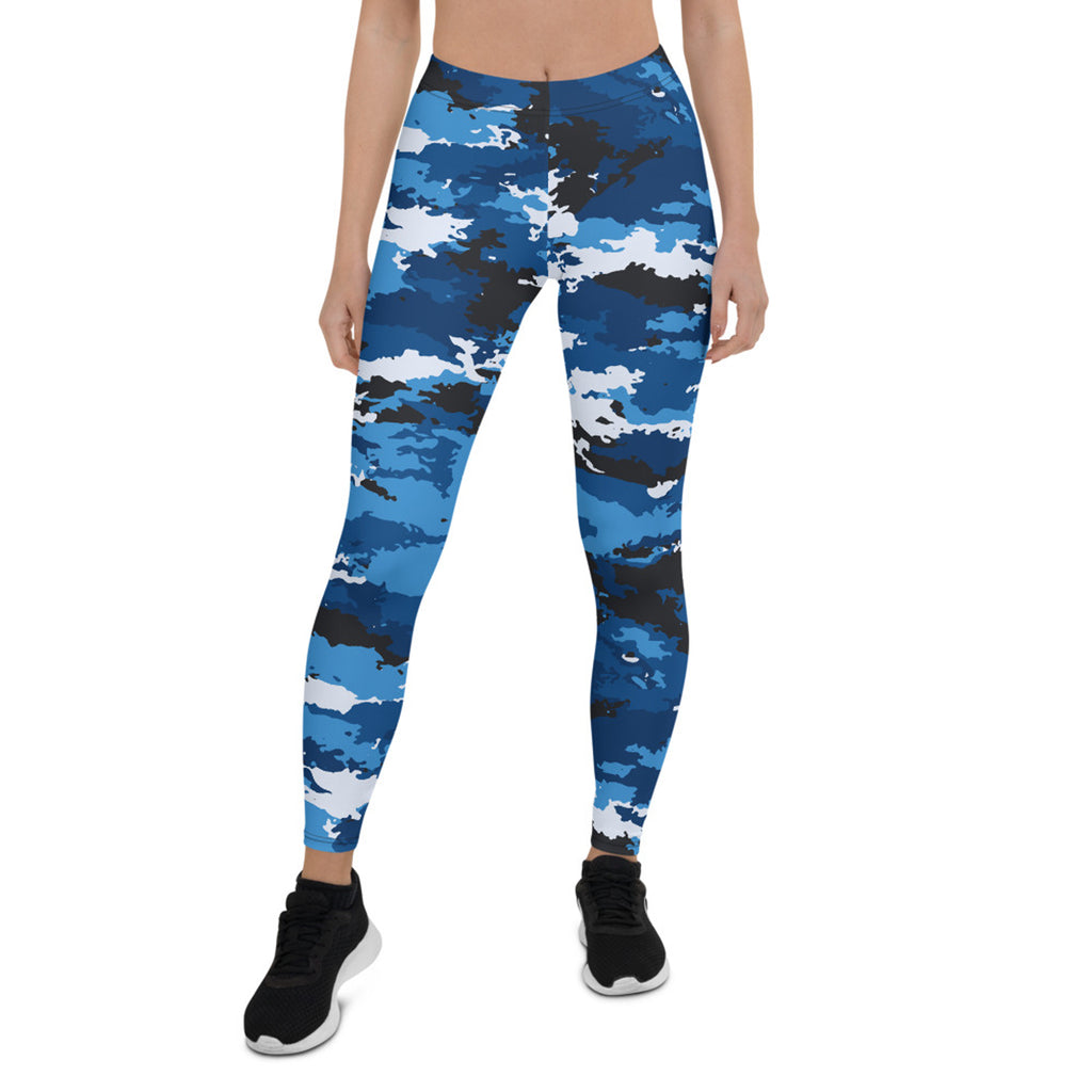 Blue Camo Leggings for Women