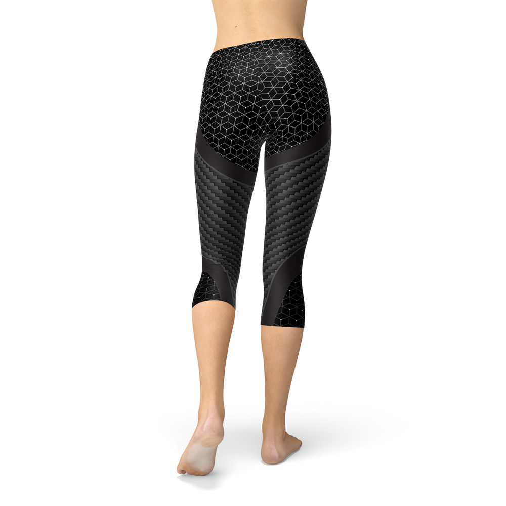 Load image into Gallery viewer, Womens Carbon Fiber Sports Capri Leggings