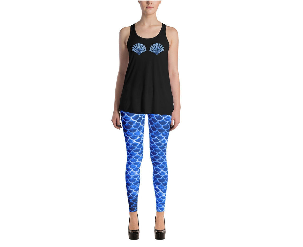 Blue mermaid scale leggings, Capris and Shorts