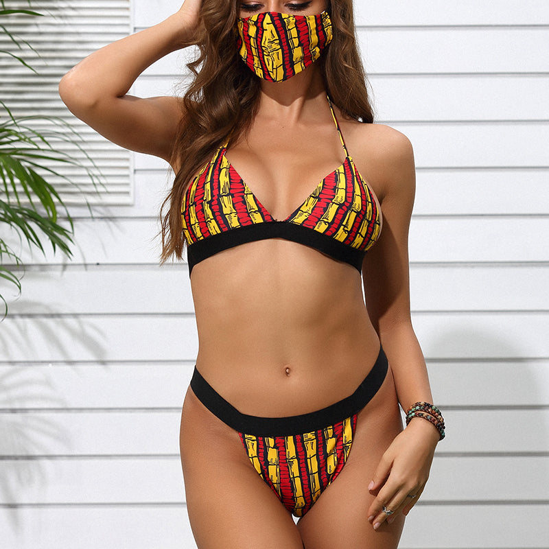 Retro Printed Swimsuit with Mask 3 Piece Bikini - MorphU LLC