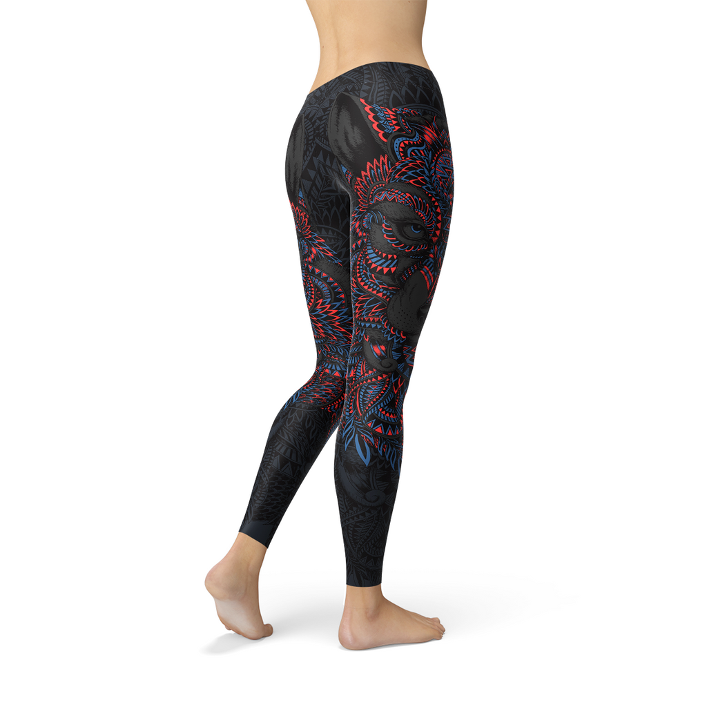 Womens Oriental Black Wolf Leggings - MorphU LLC