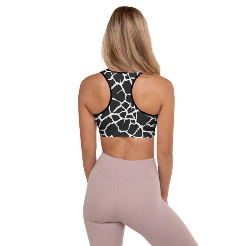 Load image into Gallery viewer, Animal Print Giraffe Padded Black/White Sports Bra