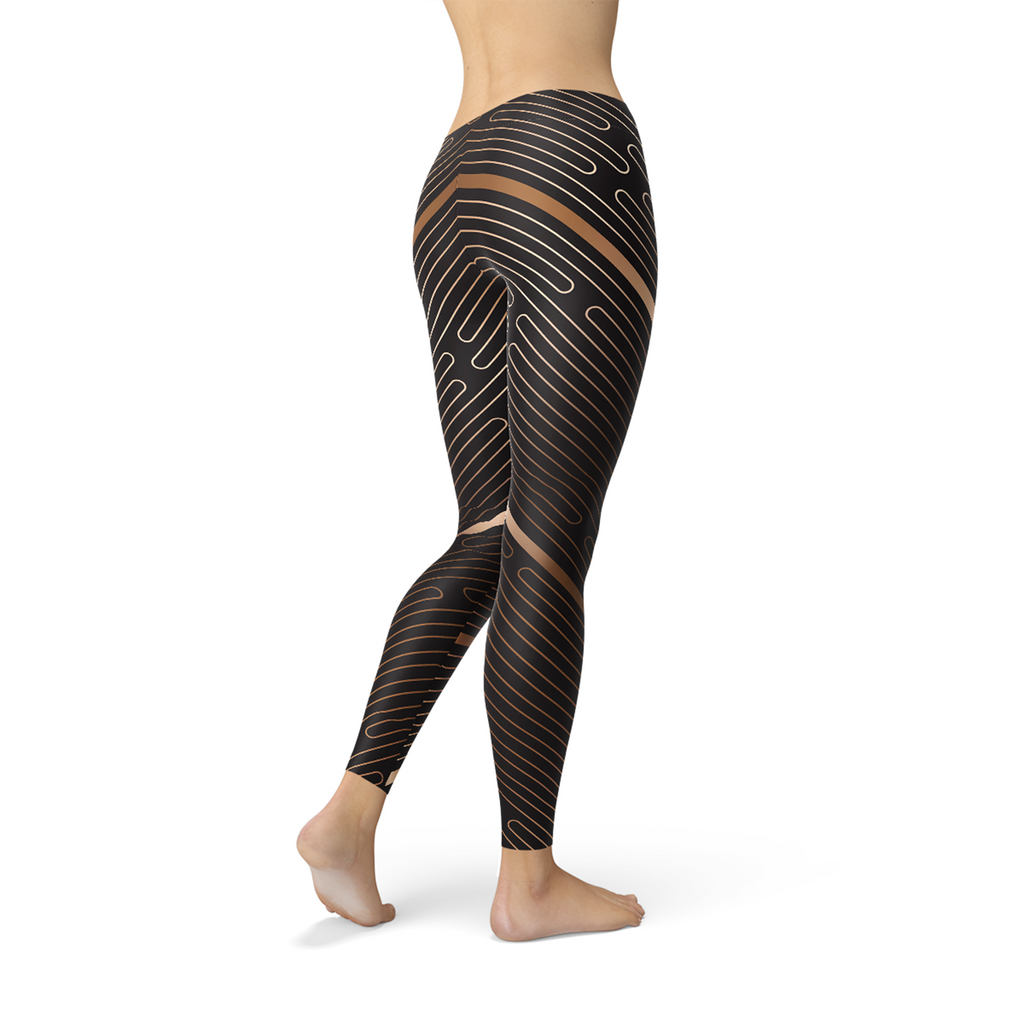 Load image into Gallery viewer, Womens Striped Lines Sports Brown Leggings