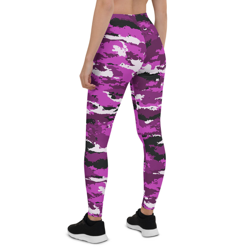 Pink and Purple Camo Leggings for Women
