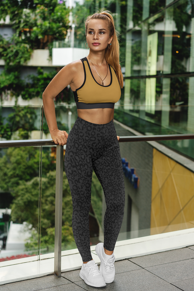 Black Leopard Fitness Set With Mustard Sports Bra