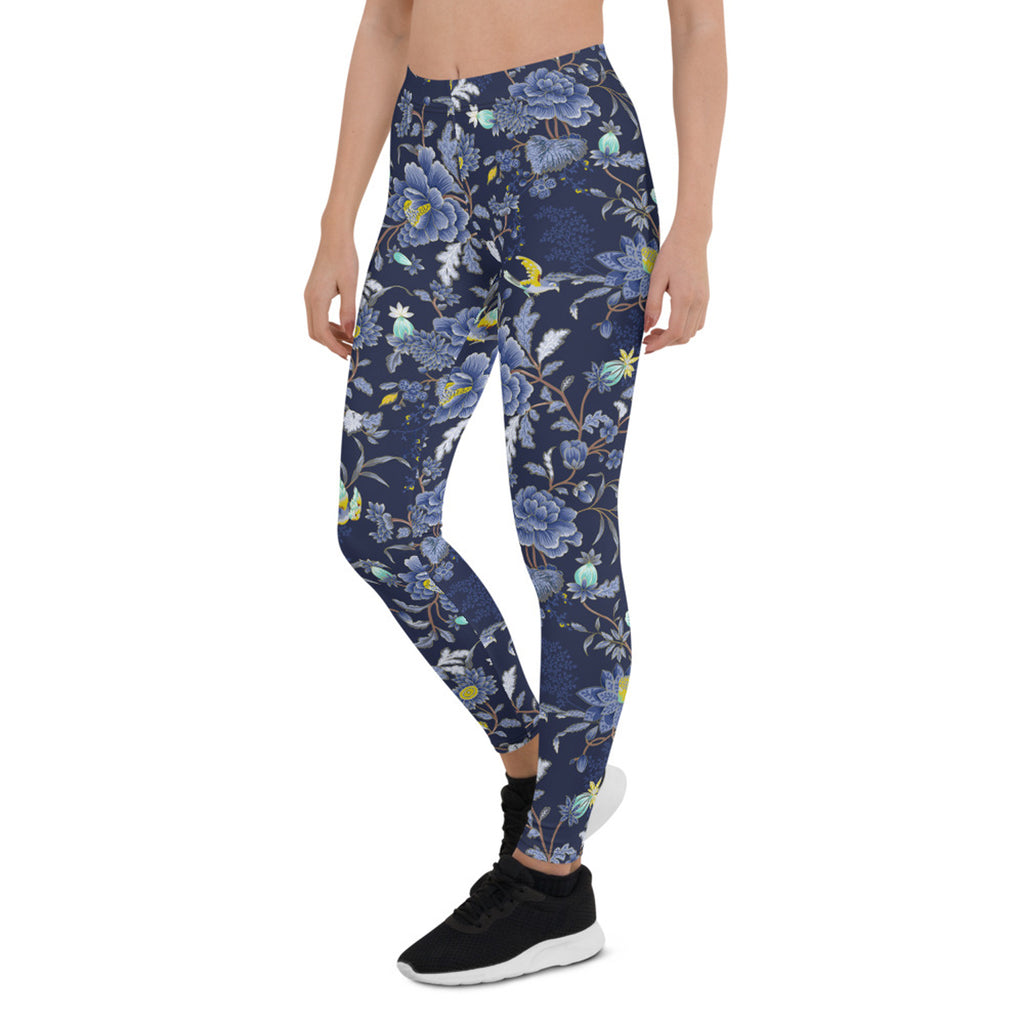 Oriental Floral Leggings on Navy Blue Background - MorphU LLC