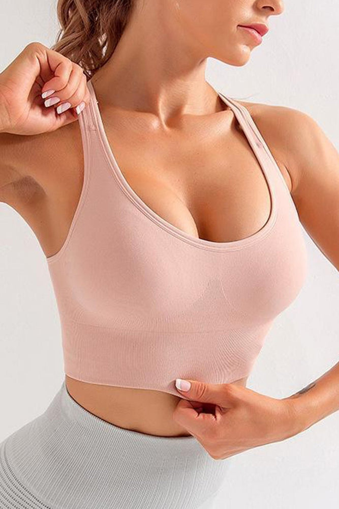 Pink Padded Support Fitness Solid Color Sport Bra - MorphU LLC
