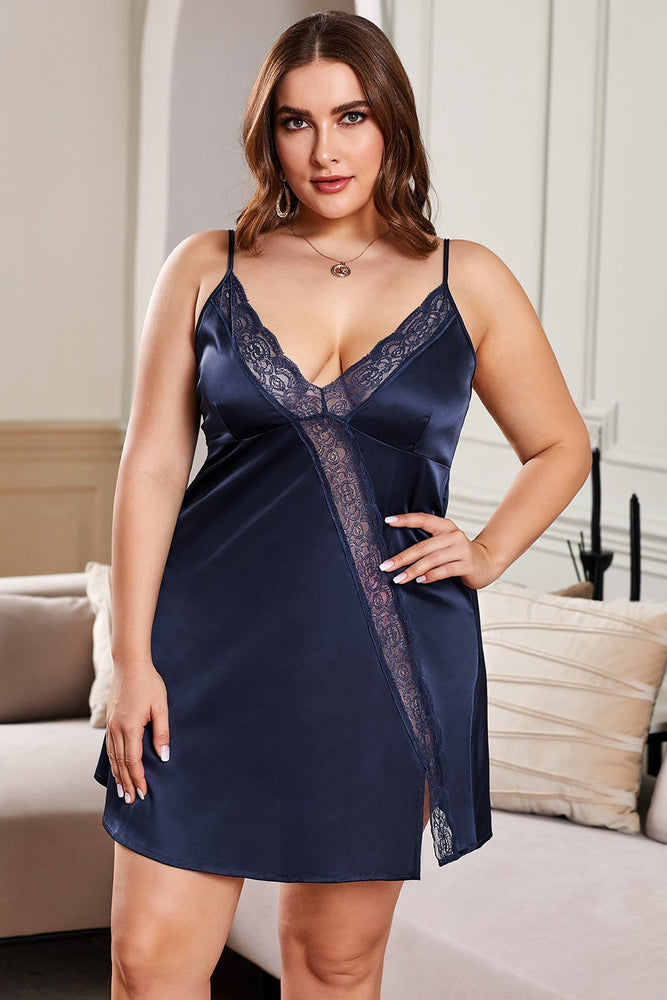 Navy Lace Trim Valentine Plus Size Babydoll Dress - MorphU LLC