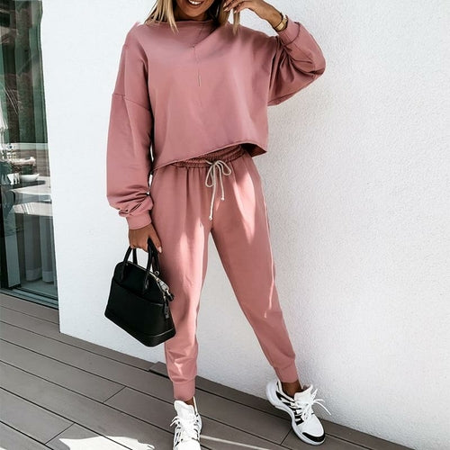 Simplee Casual Solid Color Women's Suit Loose Women's Fitness Suit - MorphU LLC