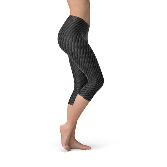 Womens Black Carbon Fiber Capri Leggings - MorphU LLC