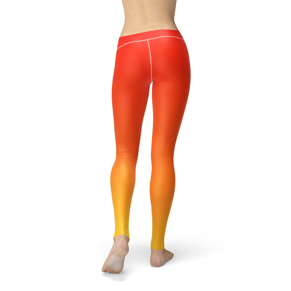 Avery Red Yellow Ombre Leggings - MorphU LLC