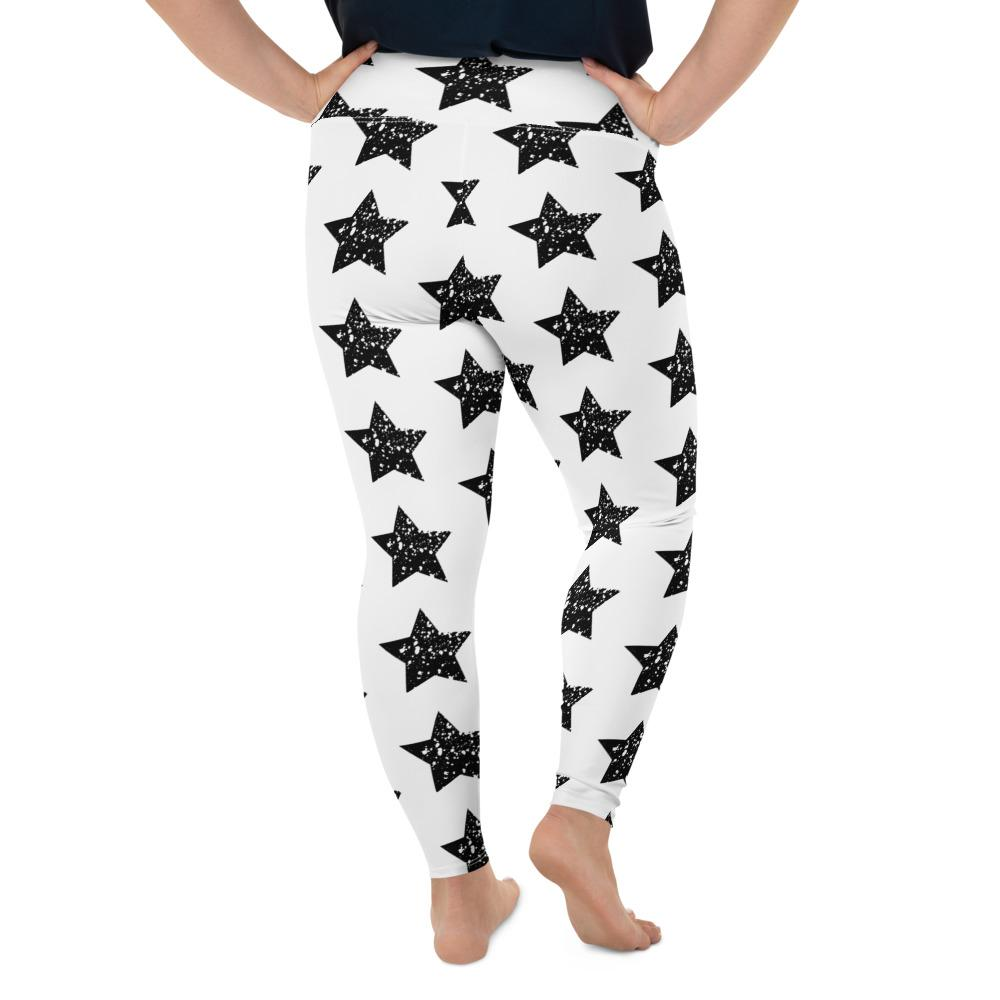 Load image into Gallery viewer, Black Star on White Plus Size Leggings