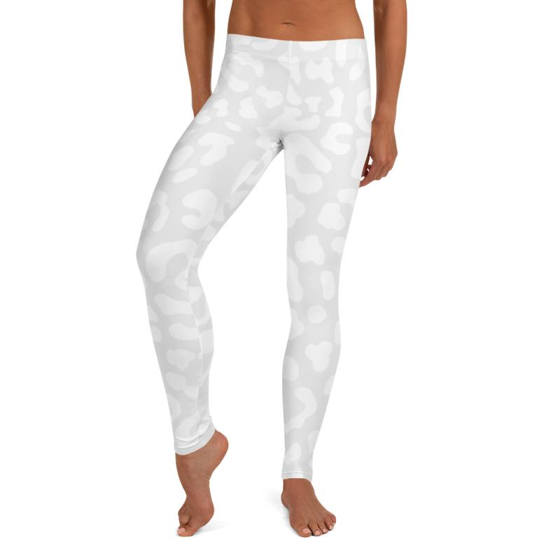 White Animal Print Leggings, Capris and Shorts - MorphU LLC