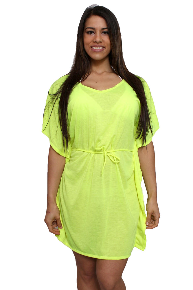 Women's Tie Waist Tunic Swimwear Cover-up Beach Dress Made in the USA - MorphU LLC