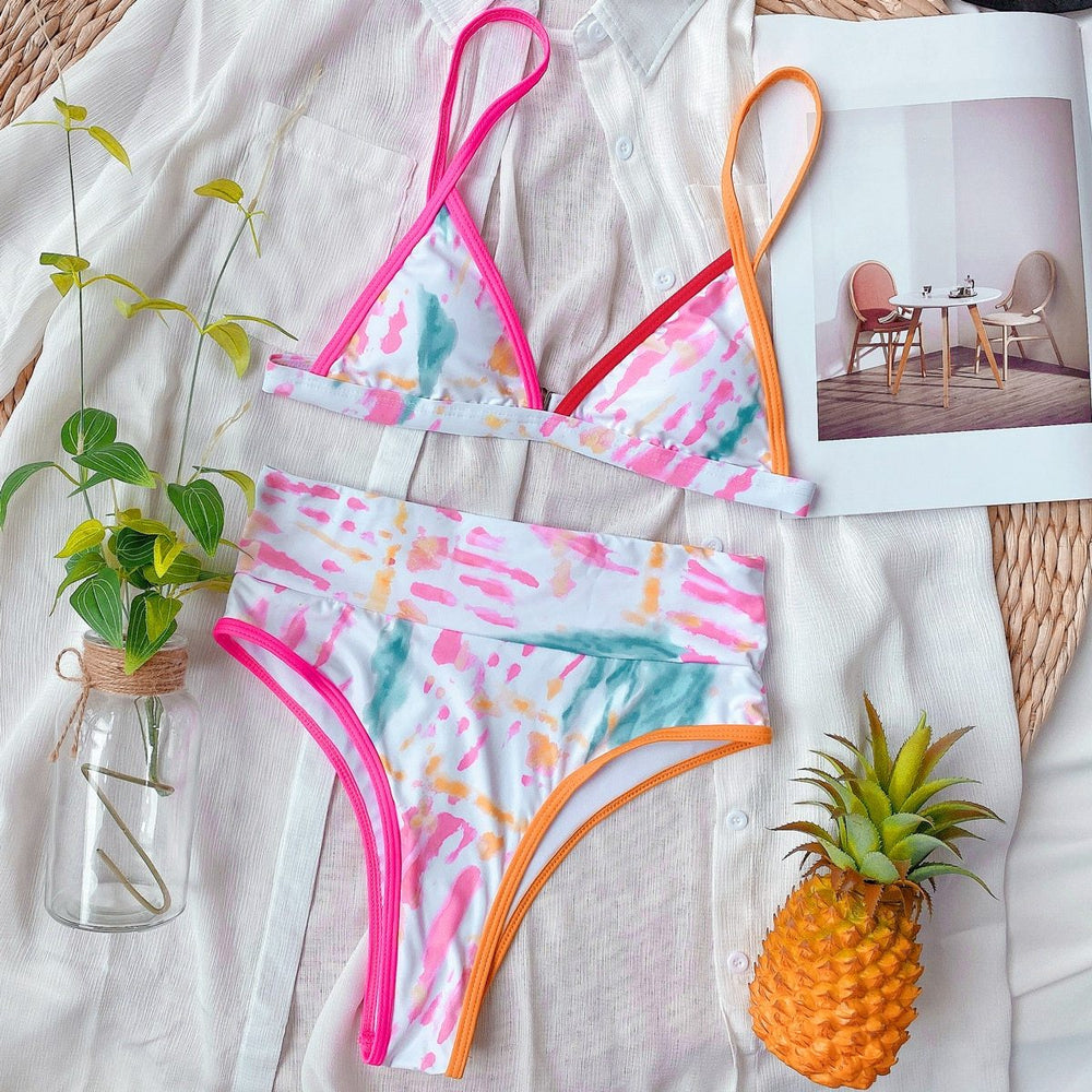 Load image into Gallery viewer, Striped Patchwork Bikini Two Piece Set Bra Top Thong Swimsuit - MorphU LLC