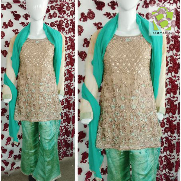 Stitched Fancy 3 Piece Dress | Short Frok | Full Embroidered | Green