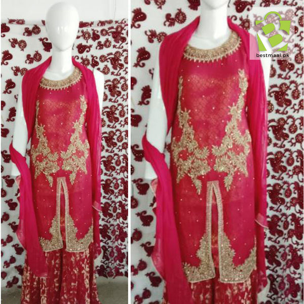 Stitched Fancy 3 Piece Dress | Shalwar Qameez | Full Embroidered | Red