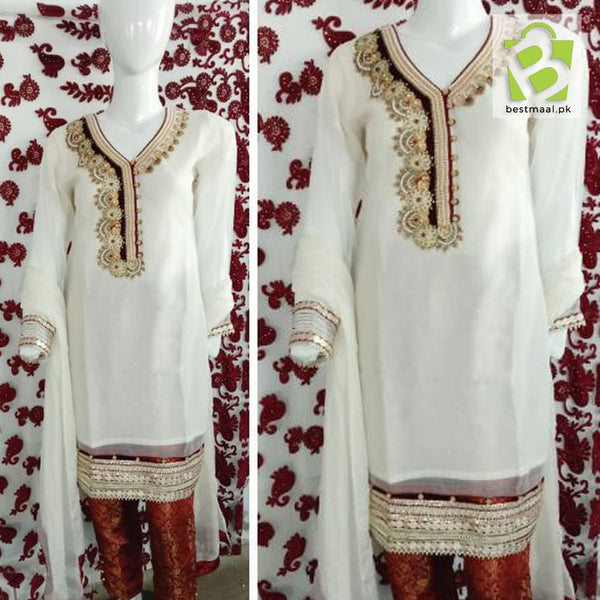 Stitched Fancy 3 Piece Dress | Shalwar Kameez | Full Embroidered | White