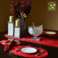 Jacquard Red Table Runner, Placemat And 6 Napkins