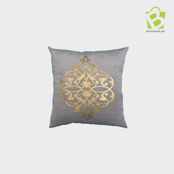 Gray cushion cover with golden printed design
