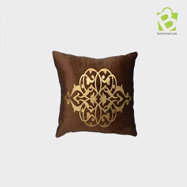 Light Brown cushion cover with golden printed design