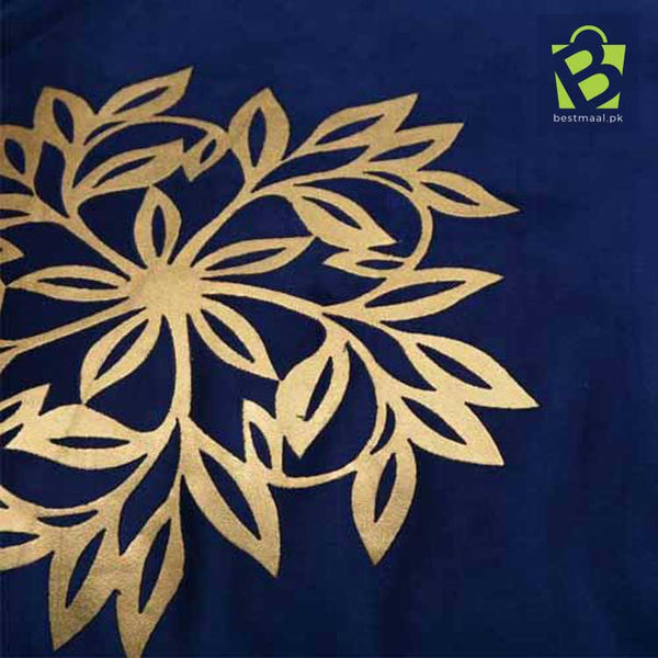 Blue cushion Cover with Golden flower design