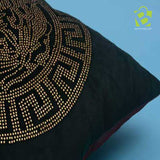 Fancy Versace style printed Green cushion cover