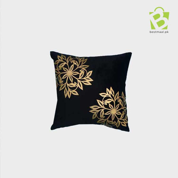 Black printed golden design cushion cover
