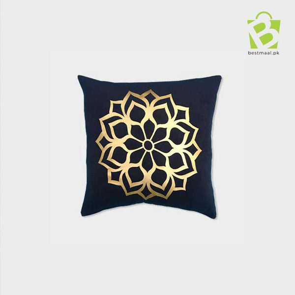 Blue floral design printed cushion cover