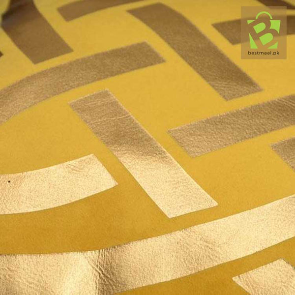 Yellow cushion cover with golden Laser cut design (Set of 2)