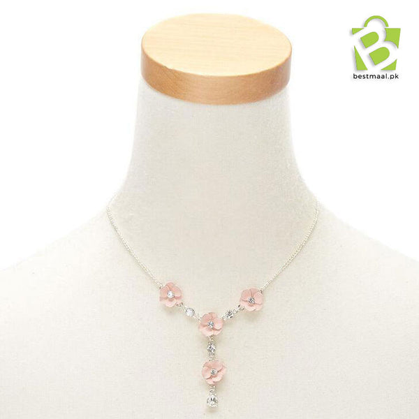 Silver Floral Jewellery Set - Pink