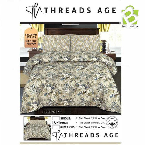 Threads Age King Size Bedsheet - Design 3