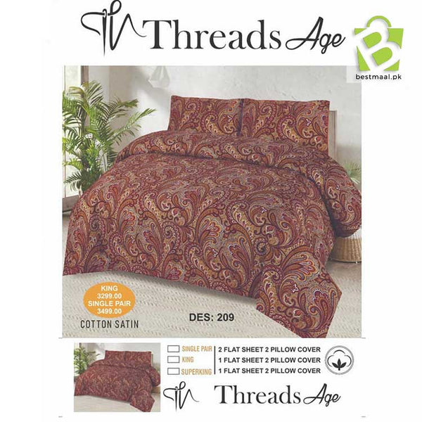 Threads Age Single Pair Bedsheet - Design 14