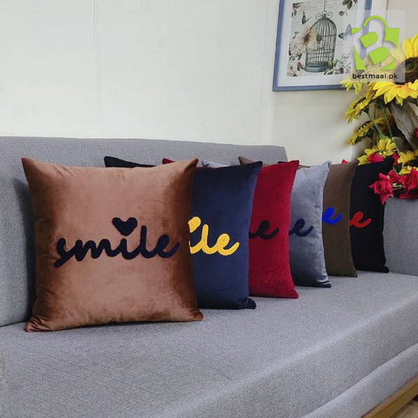 Smile Word Art Embroidered Decorative Accent Pillow  | Pack of 6
