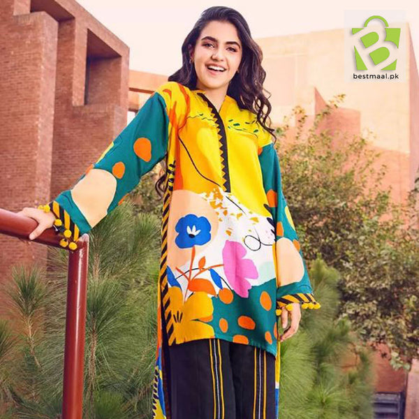 Unstitched Digital Printed Lawn 2 Pc Suit | Gul Ahmed | D-06