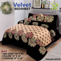 4 Pc Velvet Bedsheet | Black | D-01