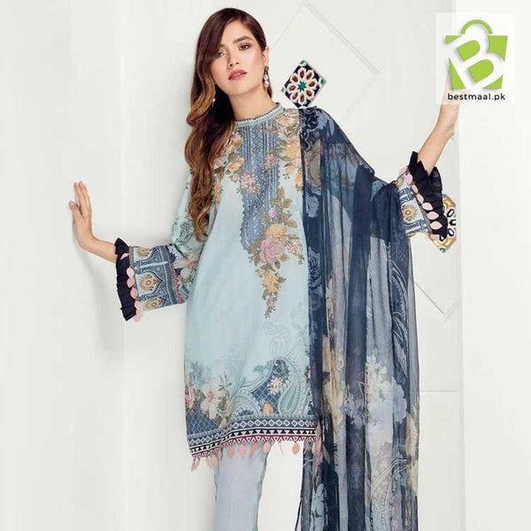 Baroque 3 Pc Unstitched Lawn Dress | Fabric Lawn | Chiffon Dupatta | C Green
