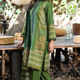 Jazmin 3 Pc Unstitched Lawn Dress | Fabric Lawn | Chiffon Dupatta | Green