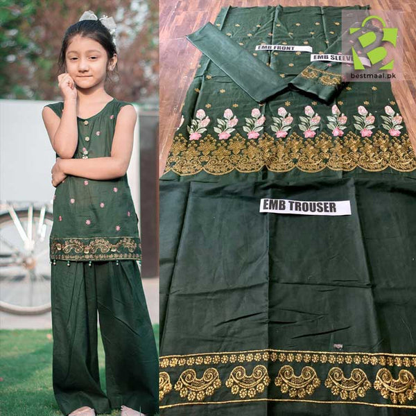 Lawn Collection of Kids 2pc Embroidered Suit - Dark Green