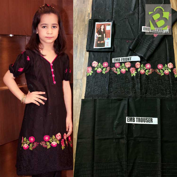 Lawn Collection of Kids 2pc Embroidered Suit - Black