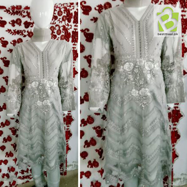 Stitched Fancy 3 Piece Dress | Short Frok | Full Embroidered | Gray