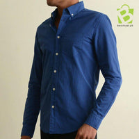 Exclusive Aeropostale Button Down Oxford Shirt - Rich Blue - BestMaal