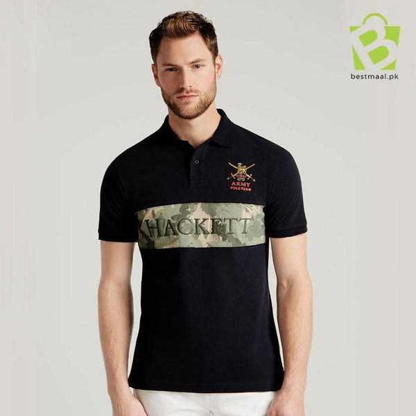 Exclusive Army Panel Polo Shirt - Black - BestMaal