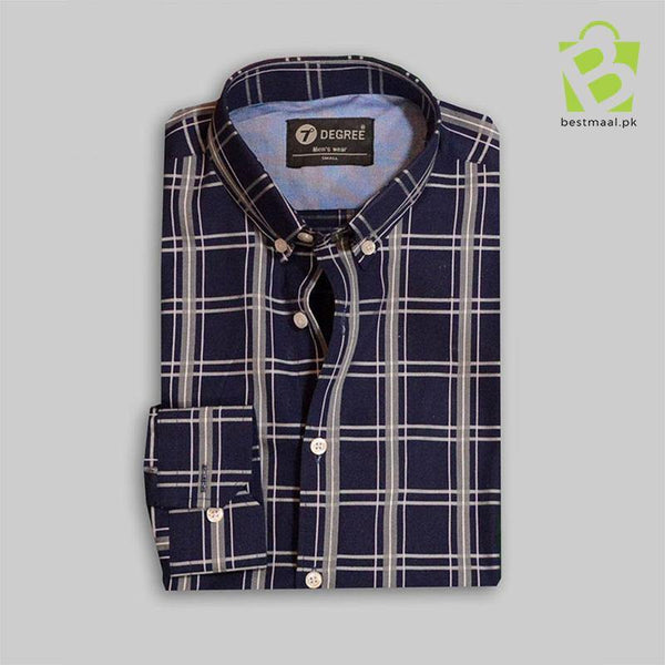 Exclusive Navy Blue Checkered Shirt - BestMaal