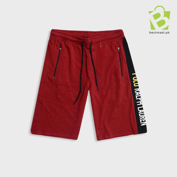 Ralph Lauren Premium RL-Side Black Stripe Shorts - Maroon - BestMaal