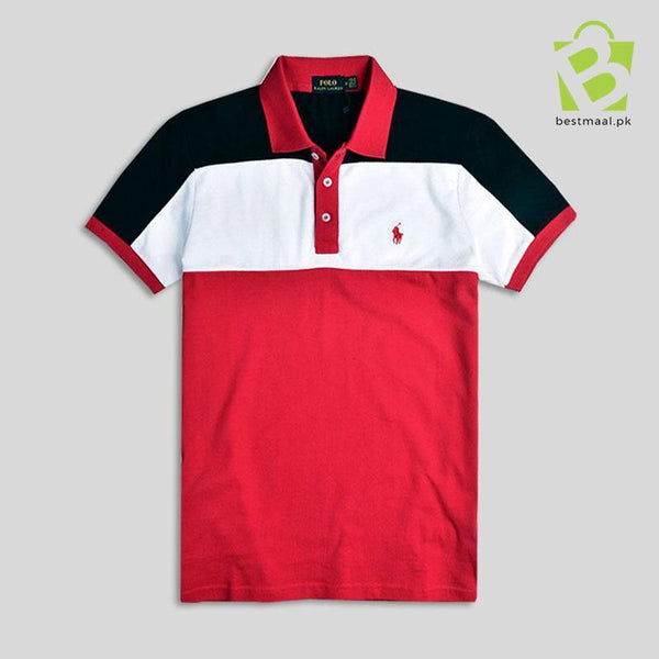 Slim Fit Mesh Polo Three Colors Patch B-W-R - BestMaal