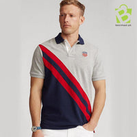 Slim Fit Mesh Red Stripe Polo - Gray - BestMaal