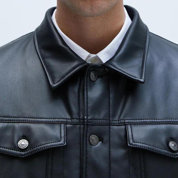 ZARA Contrast Leather Jacket - Black - BestMaal