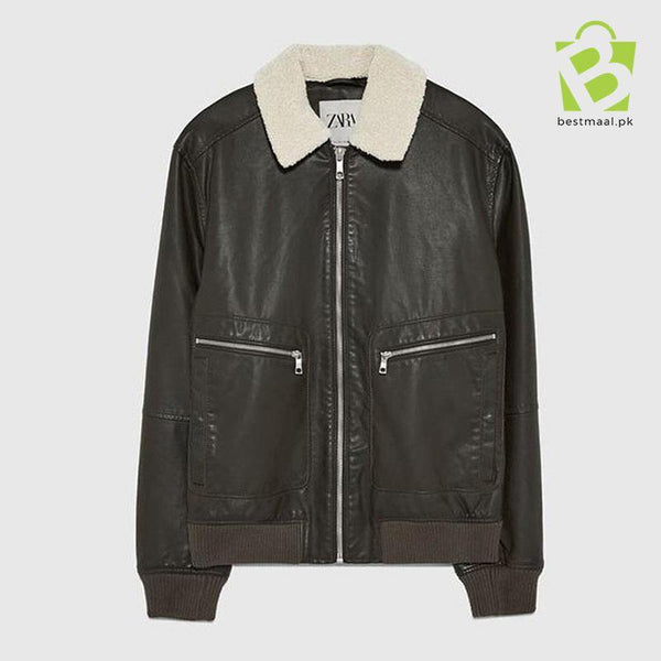ZARA Contrast Leather Jacket - Brown - BestMaal